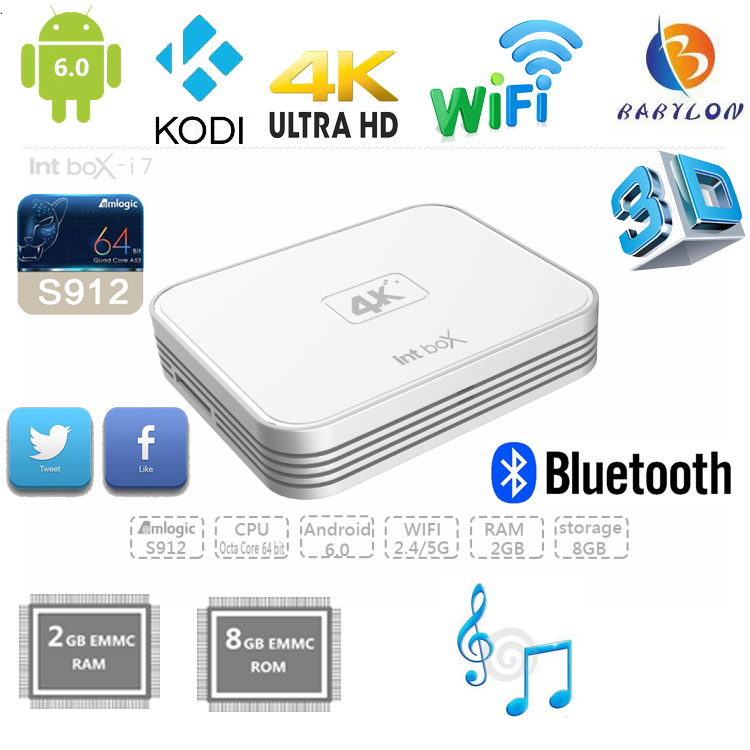 4K Int box Amlogic S912 Octa Core Android6.0 TV Box with 2GB RAM 8GB ROM wifi dongle for set top box
