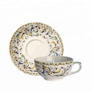 bone porcelain salad dish saucer coffee cup with fork spoon knife