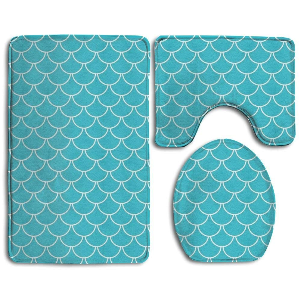 HOMESTORES 3 Piece Bathroom Rug Set - Skidproof Toilet Bath Rug Mat U Shape Contour Lid Cover For Shower Spa