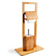 Free Standing Bamboo Wooden Toilet Roll Holder with Toilet Brush