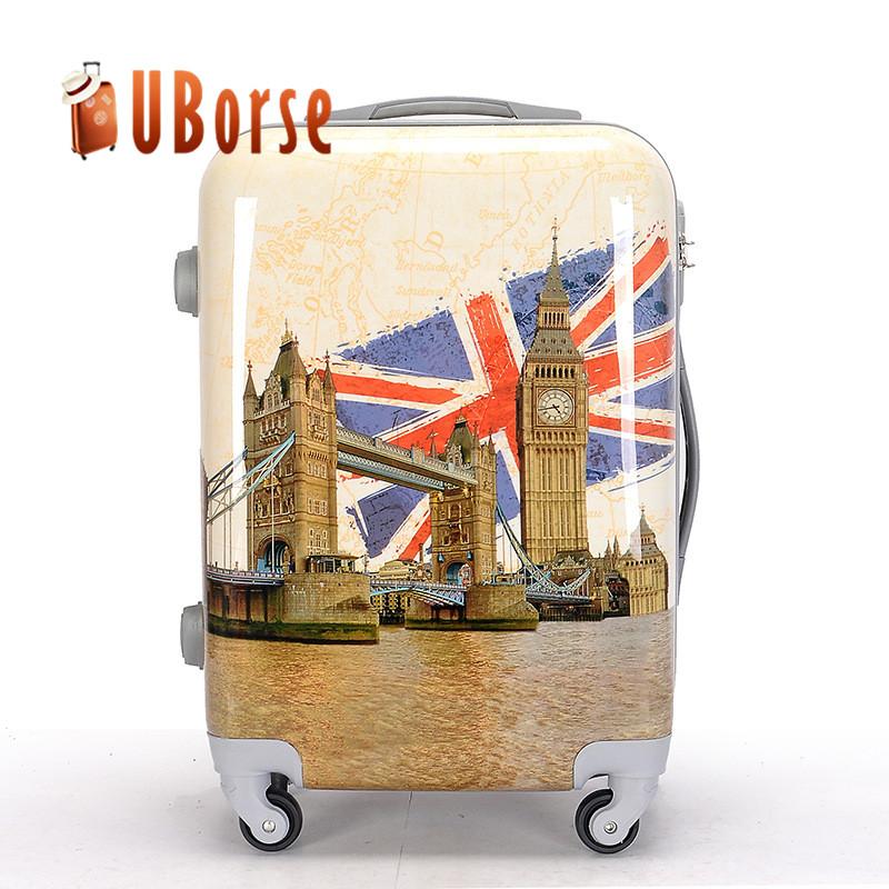 abs pvc printing luggage set, custom logo luggage, travel luggage set
