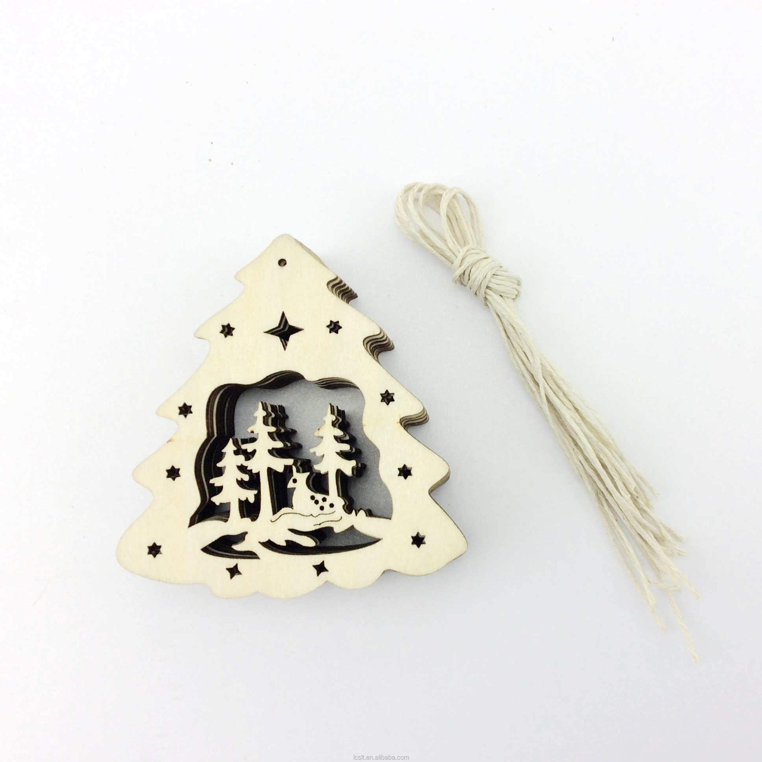 2017 Wholesale custom laser cut wood Christmas tree ornaments