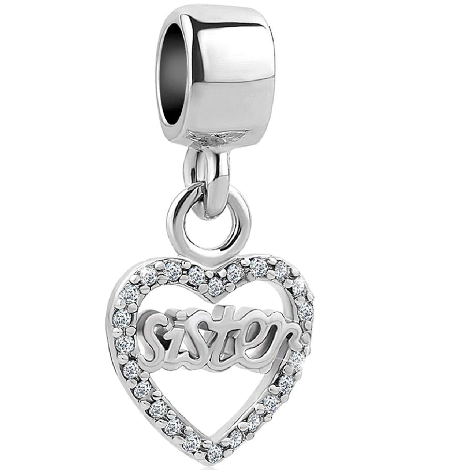 f3e7207ab Charmed Craft Dangle Heart Charms Crystal Love Friend Charms Sister Charms  Beads for Charm Bracelets