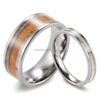 Cheap Wholesale Matching Set Of Wood And Antler Wedding Rings Pure