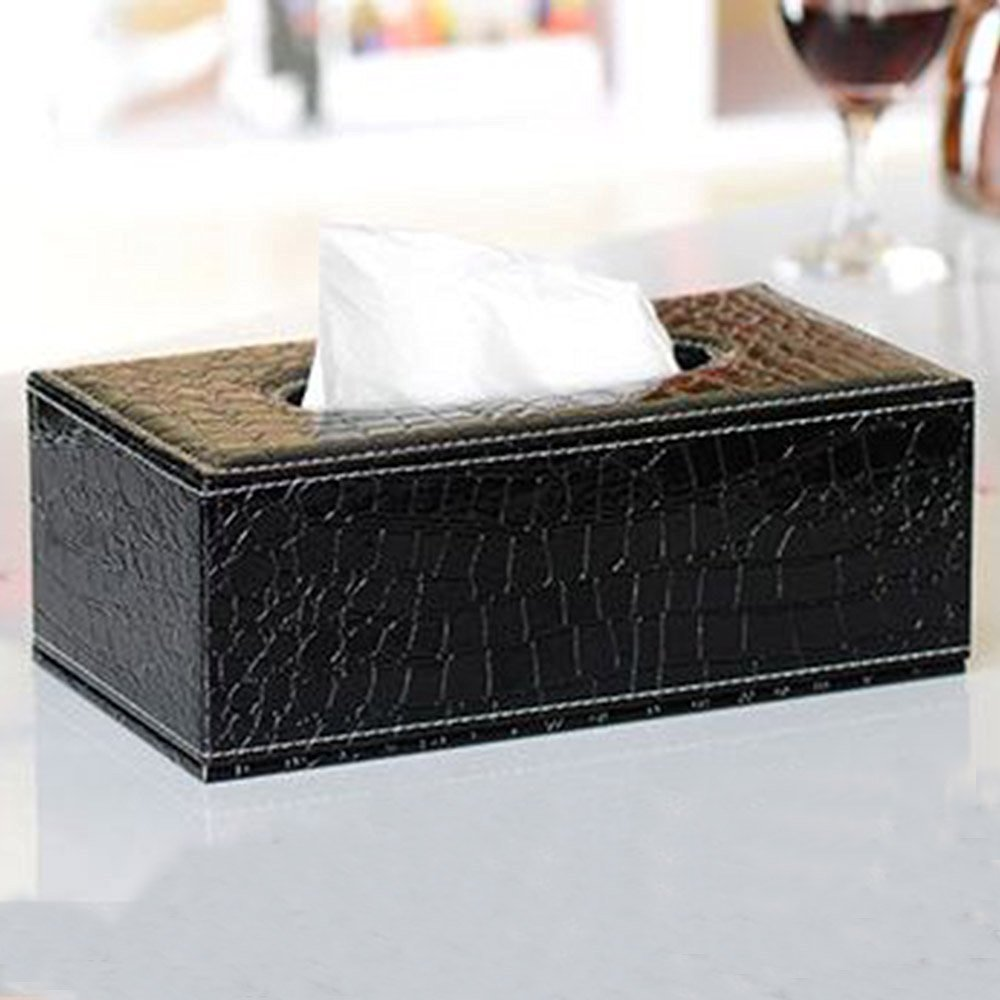 XDOBO Fashionable Crocodile Pattern Cortical Tissue Box Home Paper Box- Use for Living room/bedroom/Car Leather Napkin Paper Box-Black,Large Size