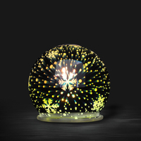 Battery powered small 3D decorative glass ball with led lights