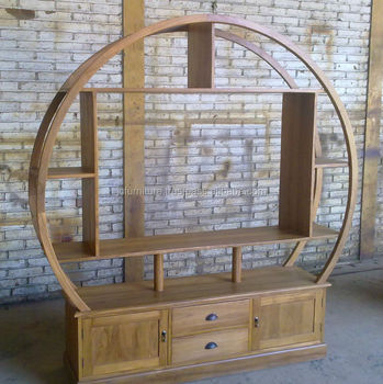 Solid Teak Wood Circular Tv Stand Best Quality Furniture Indonesia Exporter