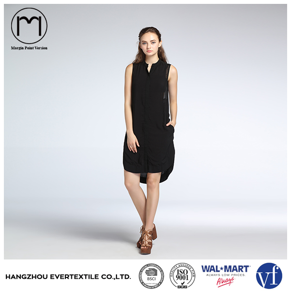 OEM ODM women summer clothes sleeveless black casual loose dress