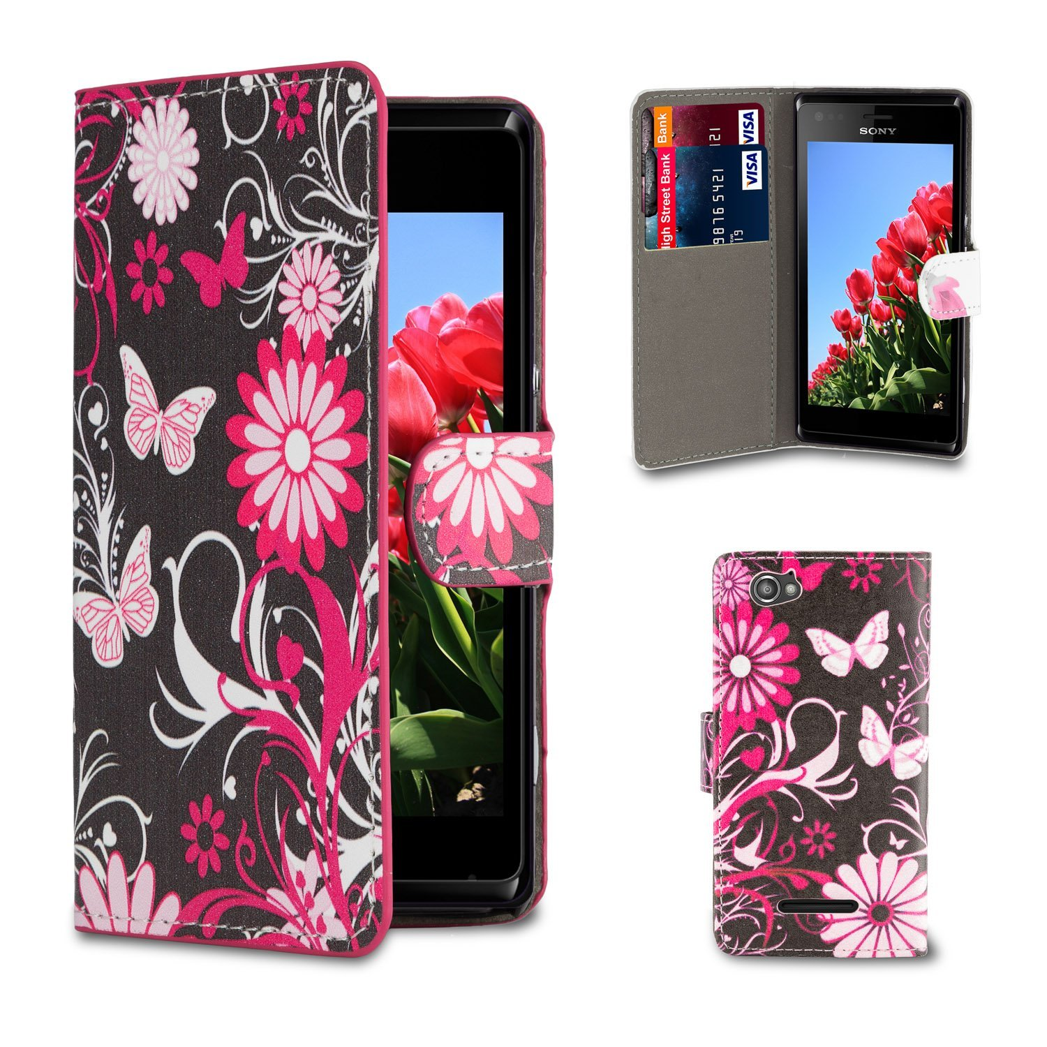 32nd Design book wallet PU leather case cover for Sony Xperia M2 - Gerbera