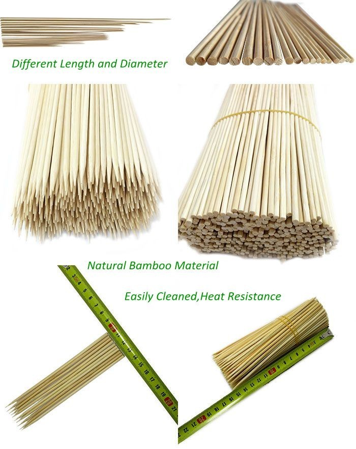 Double sandwich bamboo skewer bbq stick flat bambu skewers