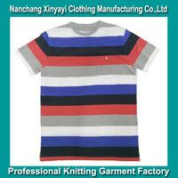 Man Clothes fashion t-shirt 2016 yarn dyed striped t shirts wholesale