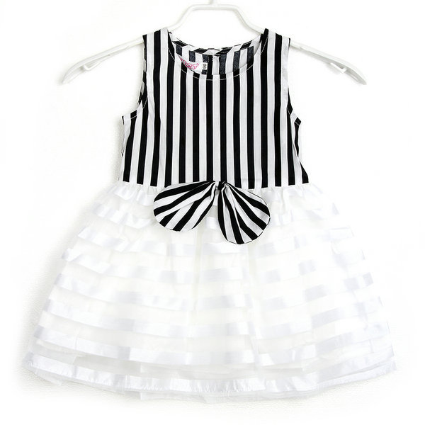 Kids Striped Tutu Bowknot Sleeveless font b Dress b font Baby Girls font b Fancy b