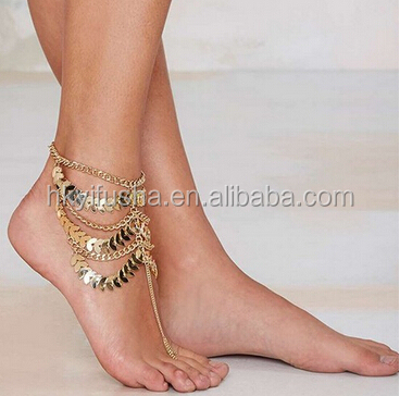 Arabian hand made multi layers leaves anklet