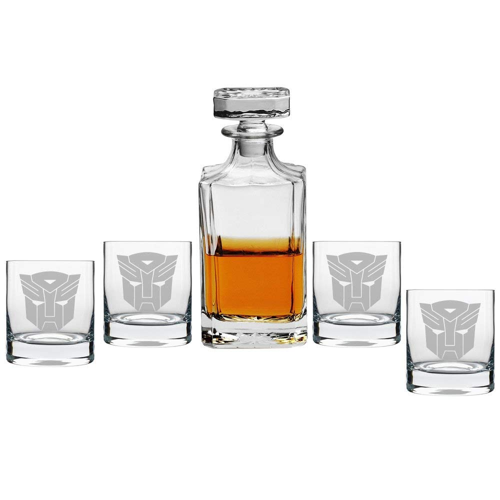 Abby Smith, Transformer Decanter with Engraved Rocks Glasses, Set of 5