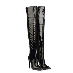 WETKISS OEM Shoes PU Patent Leather Night Club Ladies Crotch High Boots Latex Fetish Boots Sexy Women Thigh High Stiletto Boots