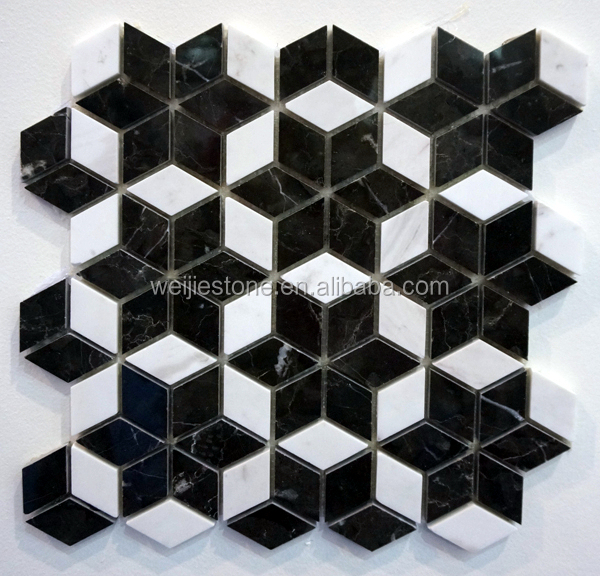 Black And White Marble Rhombus Mosaic Floor Tile Star
