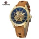 Forsining Factory New Fashion Luxury Man Watch Custom Logo Automatic Movement With Classic Brown Band