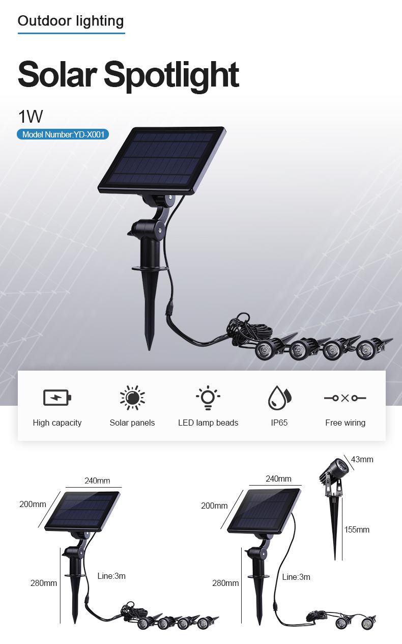 4 Head Solar Power Spotlight IP65 Waterproof Narrow Beam Led Solar Spot Garden Light Outdoor