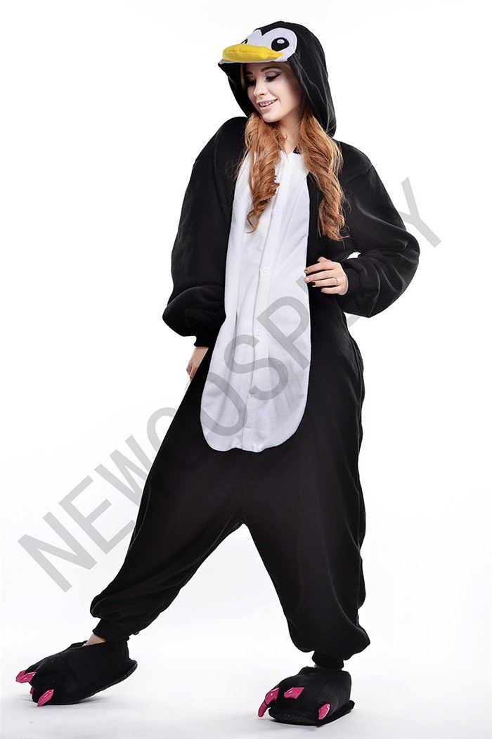 Get Quotations · New Adult Animal Black Penguin Cosplay Pajamas Onesie  Sleepwear Costume a6068ec38