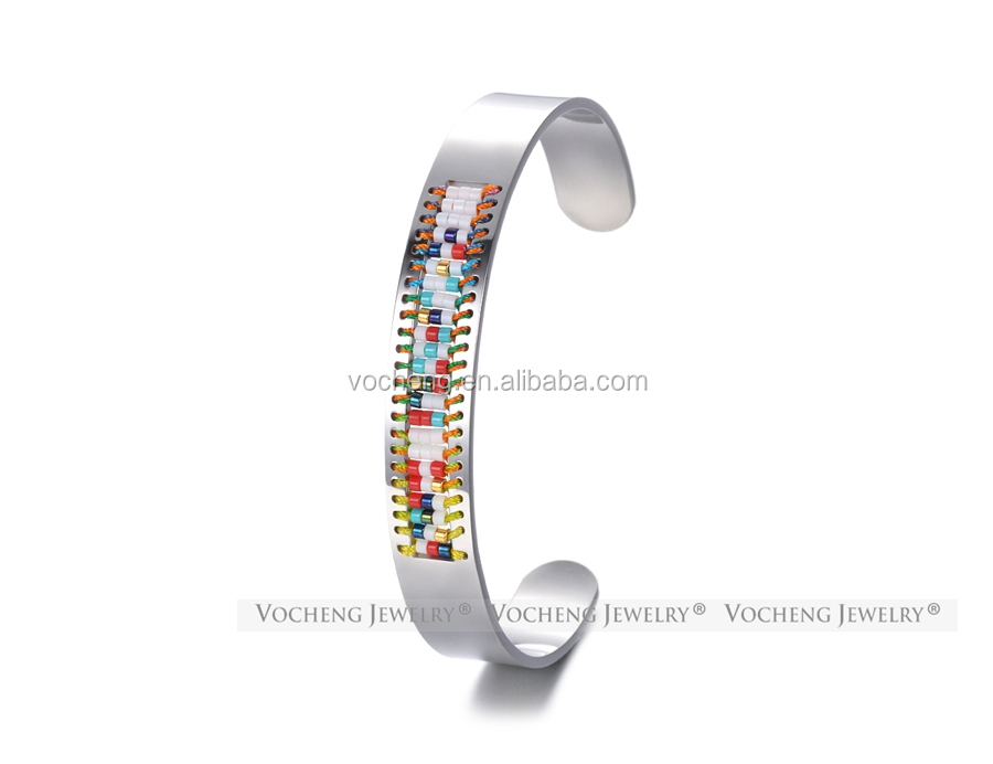 Cuff Bangle Seed Beads Jewelry Stainless Steel Bangle Bracelet Bohemian Handmade Jewelry 3 Colors M-014