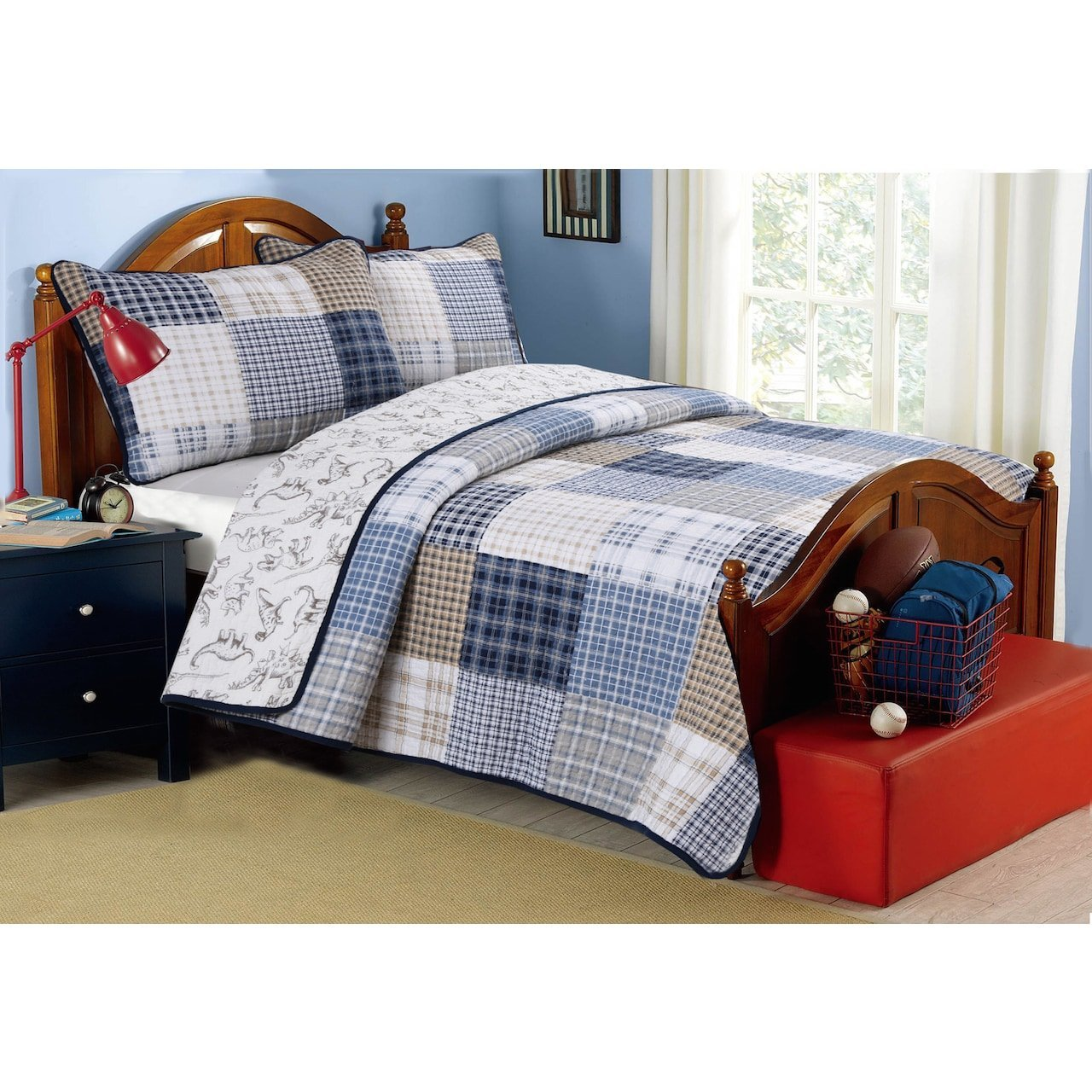 3 Piece Blue White Plaid Kids King Quilt Set, Cabin Lodge Stripe Theme Bedding, Checkered Squares Check Lumberjack Rugby Stripes Pattern Tartan Madras Patchwork Reversible Dinosaur, Cotton