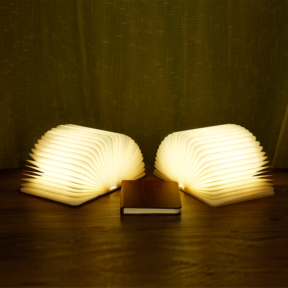 Bedside Folding Wooden <strong>Grain</strong> LED Reading Light Book