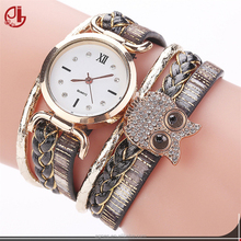 2017 New Women Casual Wristwatches Leather Owl Vintage Handmade Braided Ladies Quartz Watch For Women