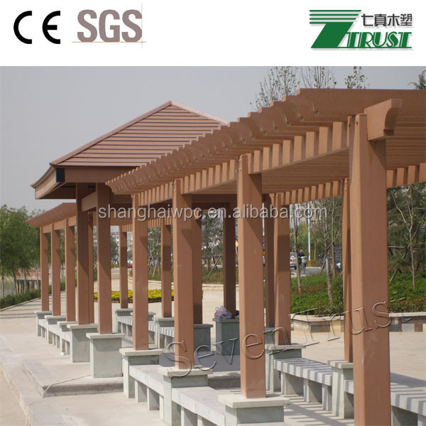 Strong WPC pergola beams, columns, blades, corners, steel insert, post base