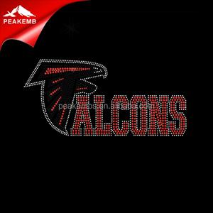 Bling design iron on atlanta falcon rhinestone transfers wholesale