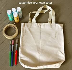 "(6 Pack) Eco-Friendly 100% Cotton Canvas Tote Bag 15"" X 16"" X 3"" Beach Bag, Grocery tote Bag, Shoulder bag, DIY project, Book Bag, with bottom Gusset"