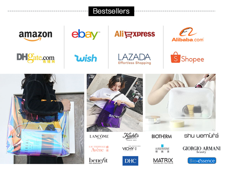 Saco de compras de pvc holográfico personalizado exclusivo com botão