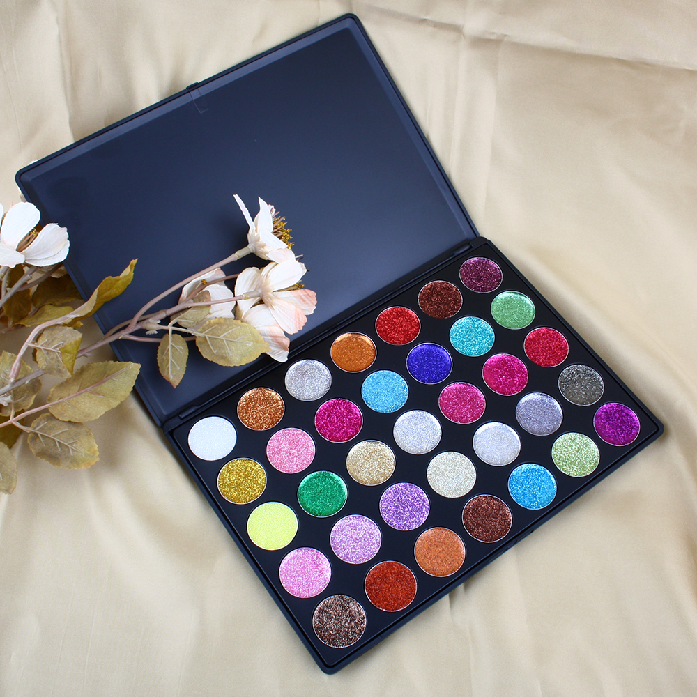 OEM Private Label No Fall Out 35 Color Small Particle Pressed Glitter Eyeshadow