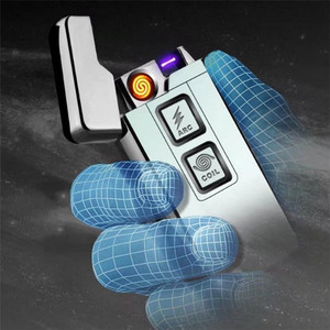 Finger touch Usb Charge Coil &Arc Lighter Windproof Personality Electronic Cigarette Lighters Novelty Electric Cigarette Lighter