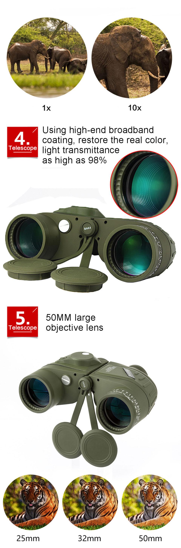 Coordinate Ranging Double Tube Camouflage Waterproof Telescope LHQ-Binoculars Ship Navigation Compass Low Light Level Night Vision