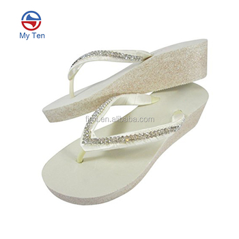 abbbaf763503 New Style High Quality Wedge Heel White Flip Flops Wedding EVA Summer Flip  Flops 2018 Women