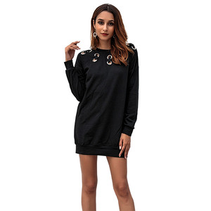 Custom Logo Metal Ring Black Loose Long Sleeve Mini Hoodie Dress 2019 Casual Winter Clothes Woman Dresses