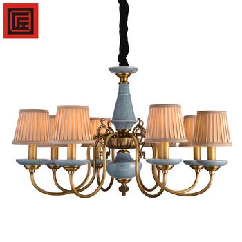 Indoor Hanging Light Luxury Fixtures Fabric Blue Ceramics Chandelier ...