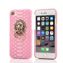 Luxury Sexy Snake Skin Phone Cases Hard Back Case For iPhone 6 6S 7 Plus 5.5 5 5S 3D Lion Head Ring Stand Cover Bag