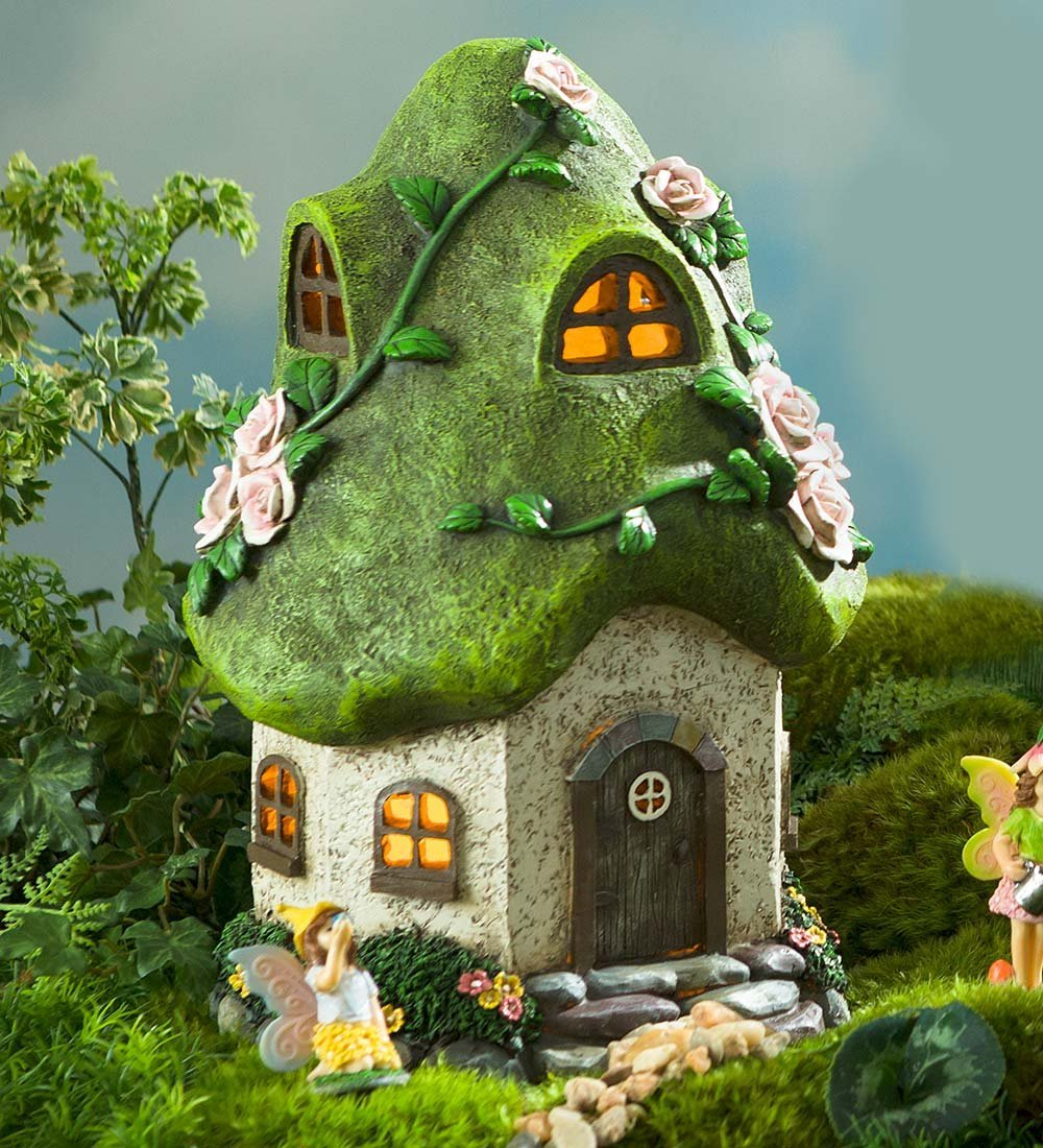 Miniature Fairy Garden Round Solar Fairy Cottage, Rose