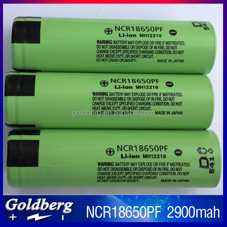 2016 New Original 18650 li-ion battery ncr18650pf 3.7v 2900mah high drain 18650pf