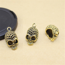 Lingsai 10Pcs/Bag Ancient Gold metal skull charm pendant for jewelry making