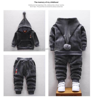 high quality raw cotton cute baby boy clothes winter hoodies set
