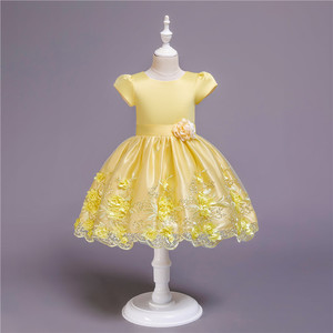 Yellow colour small group 2-7 yrs old africa baby girls party dress for school