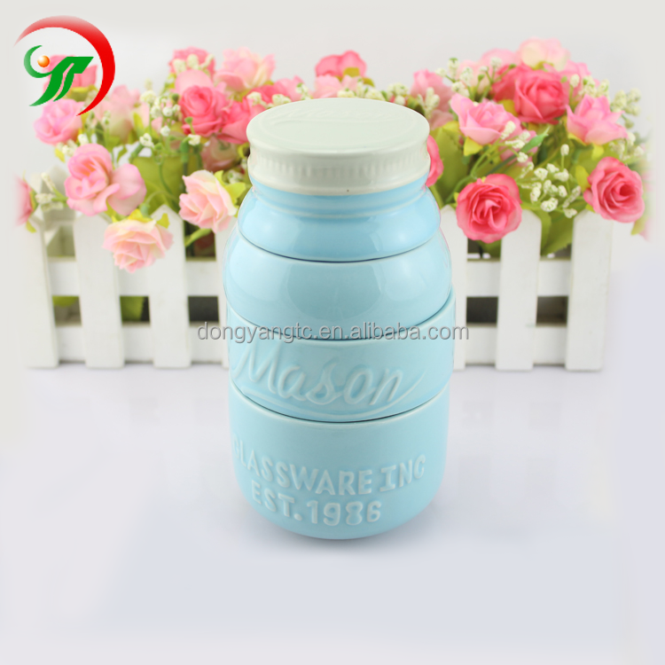4 Tier Kitchen Accessories Customized Color Ceramic Mason Jar with lid