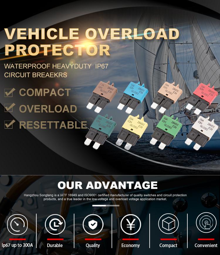 1610-21 SongTang E39 28 V DC Auto Reset ATO/ATC Circuito Disjuntor Lâmina Fusível para Carro Automotivo marinha 227