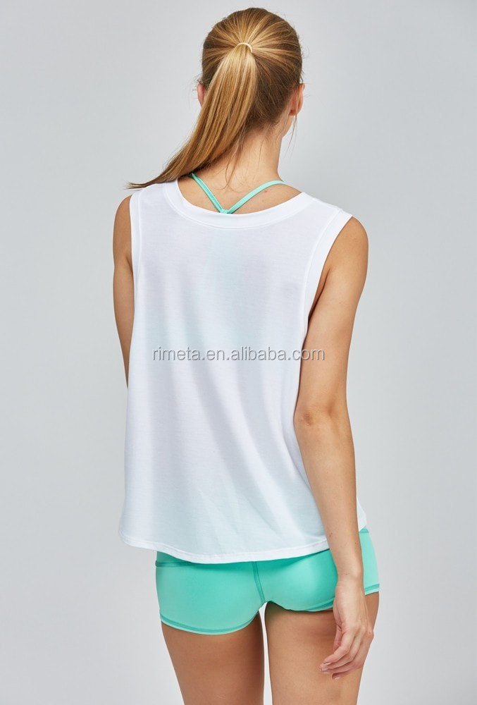 Fashion loose sports tank top yoga shirts casure fitness work out wear in white
