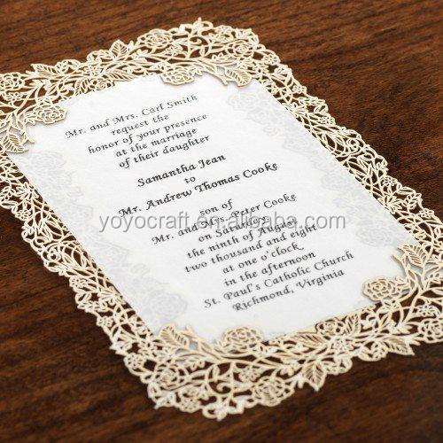 Laser Cut Lace Elegant Floral Wedding Invitation Cards With ...
