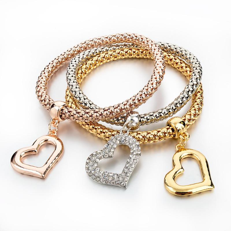Venta al por mayor pulsera de tres oros compre online los for Disenos de joyas en oro