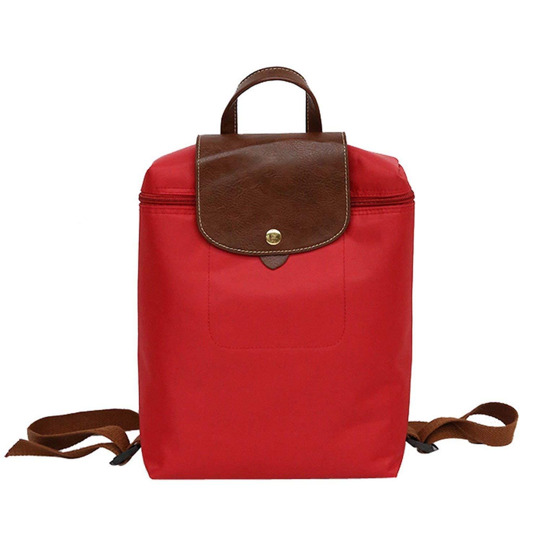 Leisure Travel Nylon Zipper Bag Student Backpack Folding Bag Shoulder Bag Women Backpacks Red