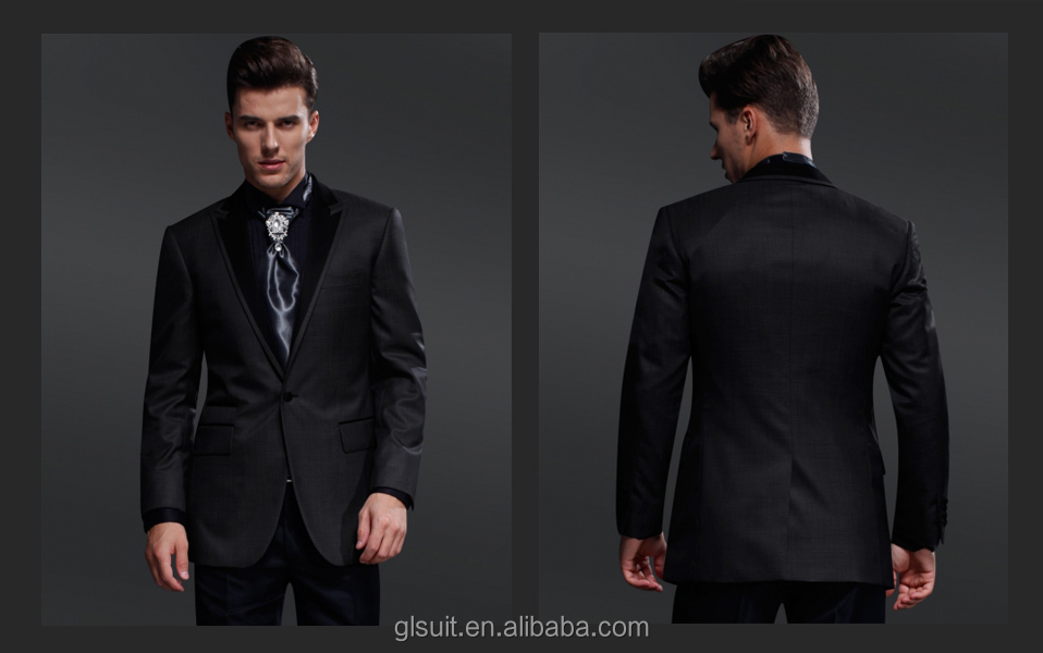 2014 New style Men\'s wedding suit 70% wool one buttons dark grey ...